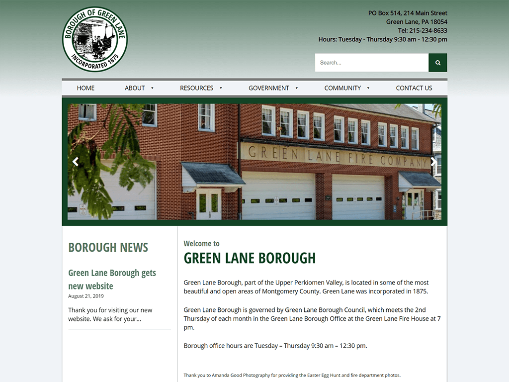 Green Lane Borough Website screenshot