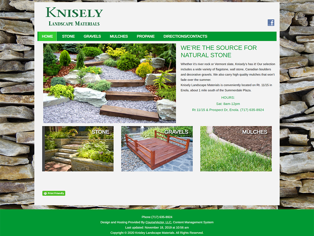 knisely landscape website screenshot