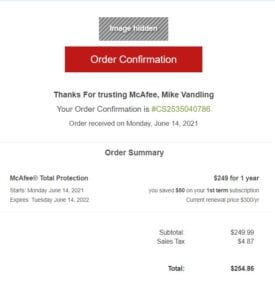 mcafee scam email